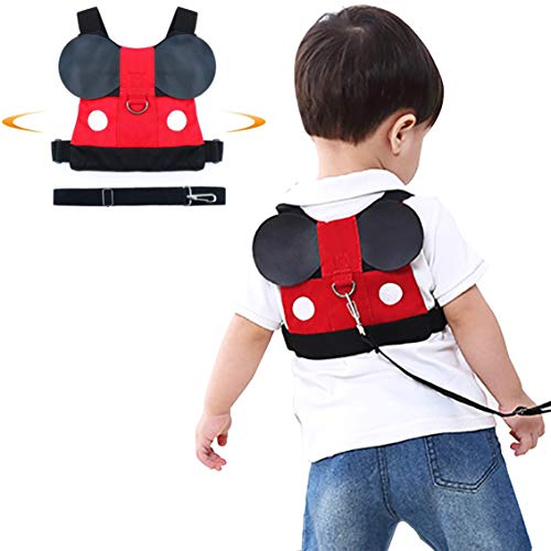Jolik Toddler Anti-Lost Walking Safety Harness with Leash Cute Baby Strap Backpack for 1-5 Years Boys and Girls (Mickey Backpack Harness)