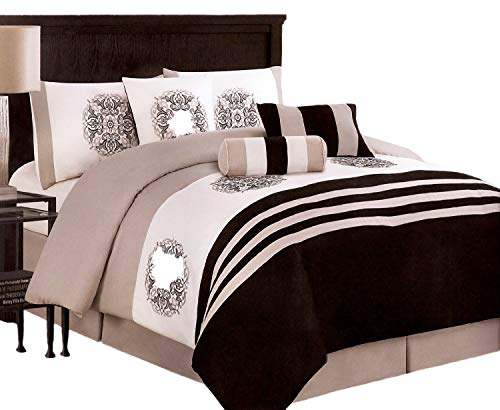7-Pieces Embroidery Medallion Comforter Set Bed-In-A-Bag Queen Black, Taupe, White ()
