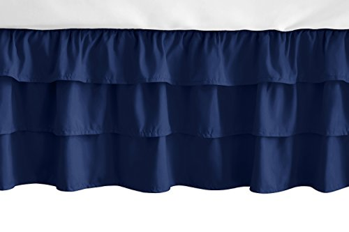Sweet Jojo Designs Solid Navy Blue Girl Ruffled Tiered Baby Crib Bed Skirt Dust Ruffle for Woodland Fox Patch Collection from Sweet Jojo Designs