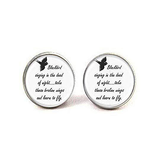 Vintage Blackbird Singing in The Dead of Night Earrings,Song Lyrics Art Jewelry,Art Picture ()