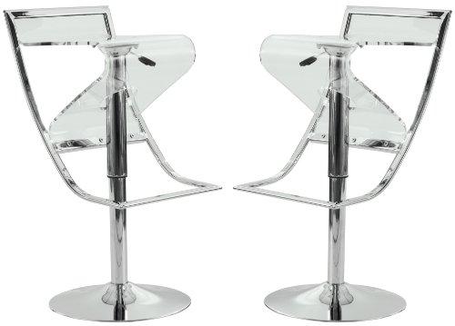 Spectator Height Stool (LeisureMod Napoli Acrylic Bar/Counter Stool, Transparent, Set of 2)