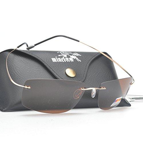 MINCL/Men Rimless Titanium Frame Polarized Sunglasses With Case (gold-brown, - Sunglasses Titanium Frame