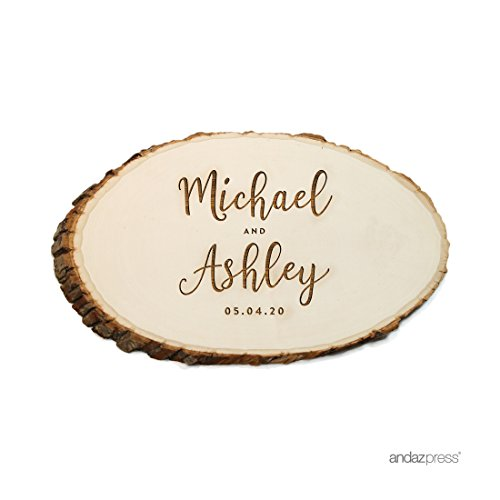 Andaz Press Personalized Laser Engraved Wood Slab, Bride Groom Script Names and Date, 1-Pack, Custom, Natural Tree Slices For Cakes Rustic Log Bark Table Centerpiece Decor -