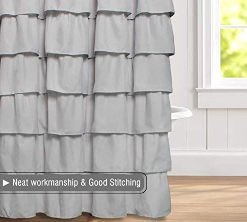 Volens Gray/Grey Ruffle Shower Curtain Fabric/Cloth/Rustic Shower Curtains for Bathroom, 72 x 72 inch Long by Volens (Image #5)