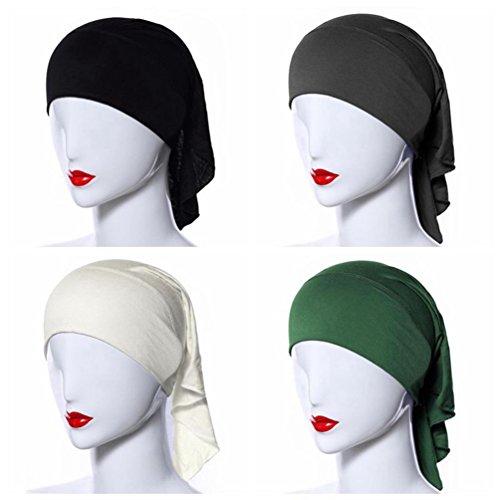 Ksweet 4pcs Stretch Elastic Hijab Cap for Women Summer Underscarf Tube Cap Head Cover Scarf (Black+Beige+Grey+Green)