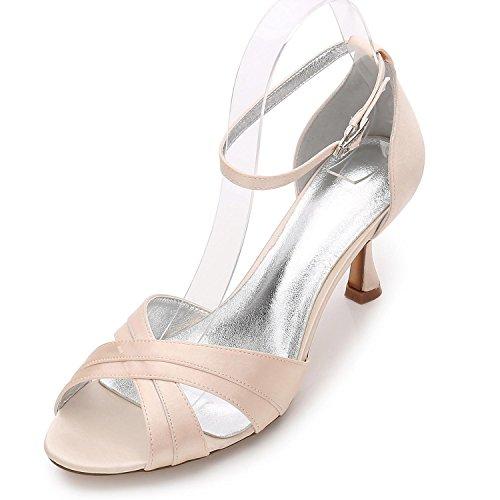 L@YC Frauen Damen Abend Hochzeit ML17061-33 Party Peep Toe Sandalen Schuhe Größe/Elfenbein/Silber/Blau Champagne