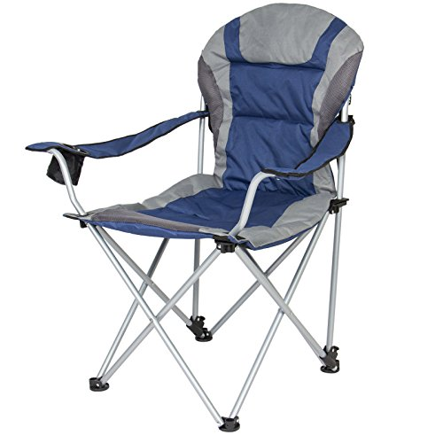 Deluxe Steel Frame Design Padded Reclining Camping Beach Chair With Portable Carrying Case Ideal For Use On Camping trip, The Beach, Sports Game (Blue & - Australia Free Melbourne Duty