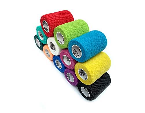 WildCow Vet Wrap Bulk Bandage Tape (3 Inch 12 Color Pack), Waterproof Self Adherent Cohesive Rolls