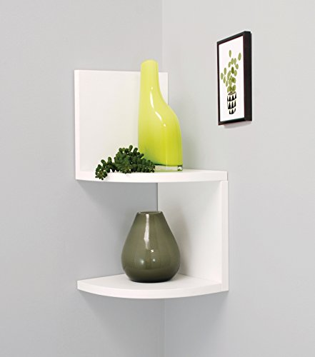 Nexxt Priva 2-Tier Corner Shelf, 7.75-Inch by 7.75-Inch Per Tier, White