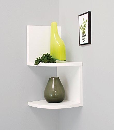 kieragrace Priva 2-Tier Corner Shelf, 7.75-Inch by 7.75-Inch Per Tier, White (Wall Shelf For Corner Bathroom)