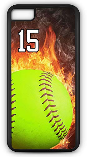 iPhone 8 Phone Case Softball S123Z by TYD Designs in Black Rubber Choose Your Own Or Player Jersey Number 15
