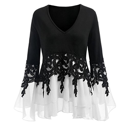 iTLOTL Fashion Womens Casual Applique Flowy Chiffon V-Neck Long Sleeve Blouse Tops(Black,US-14/CN-XXL) ()