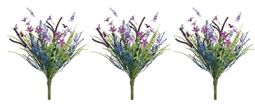Wildflower Bouquet Wedding (Set of 3 Artificial Lavender and Fern Bouquets with Spring Wild Flowers)