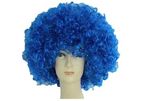 Unisex Clown Wig Circus Funny Fancy Party Dress Accessory Afro Stag Do Fun Joker (Royal Blue)]()