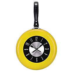 UNIQUEBELLA Kitchen Wall Clock Modern Design 10inch Metal Frying Pan for Home Decor (Yellow)