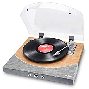 ION Audio – Christmas Gift Essential – Wireless Bluetooth Turntable / Vinyl Record Player with Speakers – Premier LP, Natural Wood Finish