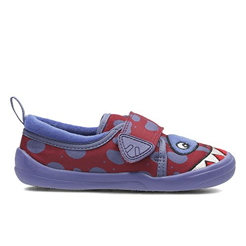 Clarks Cuba Jaws Infant Textile Slippers In Purple Combi Standard Fit Size 12 CZ3jXq6sI