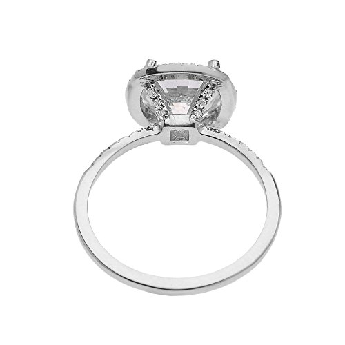 Dainty 14k White Gold Cushion Shape Halo 4 Carat Total Weight CZ Solitaire Engagement and Proposal Ring (Size 6) by CZ Engagement Rings (Image #1)