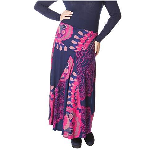 LE ORANGE MOON Jupe Longue Femme Grande Taille - Imprime - Bleu/Rose - Coton - 3X