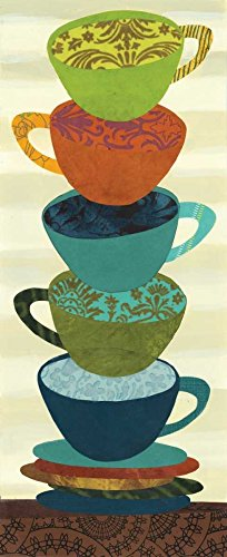 "Stacking Cups I by Jeni Lee - 6"" x 14"" Giclee Canvas Art Print"