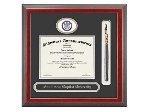 - Signature Announcements Southwest Baptist University Undergraduate Sculpted Foil Seal, Name & Tassel Graduation Diploma Frame, 16