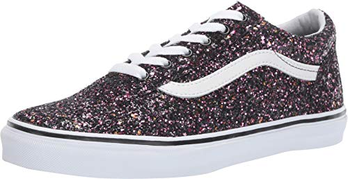 Vans Kids Girl's Old Skool Glitter Stars Skate Shoes (3.5 M US Big Kid, Black Glitter -