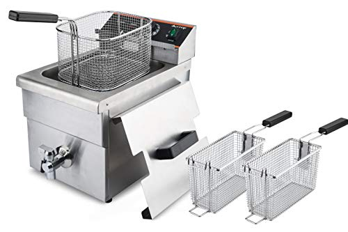 Duxtop Commercial Deep Fryer with Basket, Professional Induction Deep Fryer with Drain System 8.5QT/8L, 3000 Watts, Stainless Steel Easy to Clean for Restaurant Home Kitchen Food Cooking