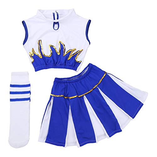iEFiEL Youth Little Girls' Cheer Leader Cheerleading Outfit Uniform Costume Cosplay Top Vest with Pleated Skirt Socks White&Blue 4-5]()