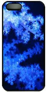 Blue phosphorescent corals Custom PC Hard Plastic Case for iPhone 4/4S Black