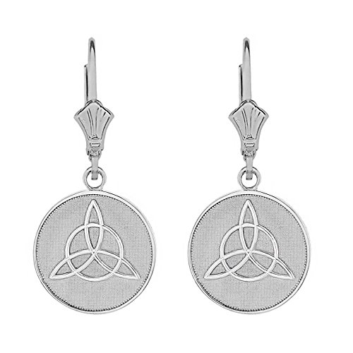 - Sterling Silver Irish Infinity Circle Celtic Trinity Knot Disc Leverback Earrings