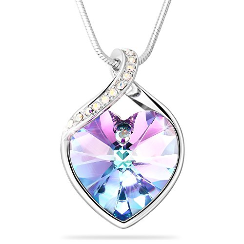 Heart Love Austrian Crystal (Heart Crystal Pendant Necklace, Adan Banfi Purple Pinkish Love Heart Shape Necklace Jewelry Made with Crystals, Ideal Gifts for Women)