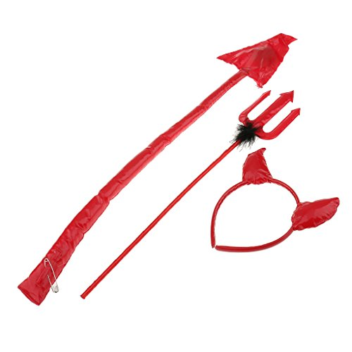 Jili Online Halloween Party Costume Accessory Red Devil Pitchfork Tail Headband Horns -