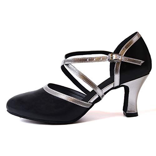 Latin Bandoulière De À Chaussures Femmes Tango Bal Jazz Naudamp En Silver Pu Danse Talons Cuir Salle Black Ozgxw7qx