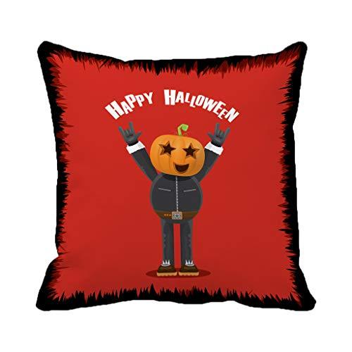 Spider Web Border Roll - Batmerry Halloween/Thanksgiving Theme Decorative Pillow Covers 18 x 18 inch,Happy Halloween Creative Man Pumpkin Head Rock Roll Greeting Frame Throw Pillows Covers Sofa Cushion Cover Pillowcase