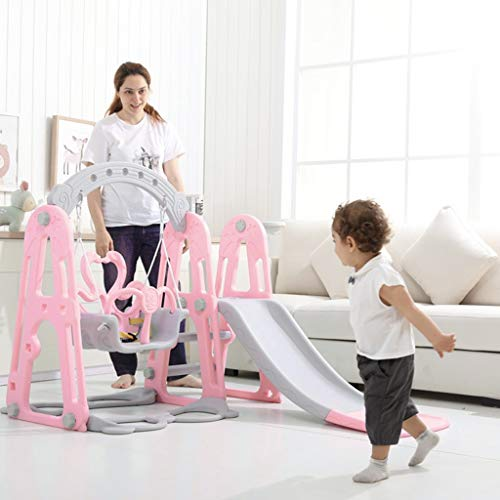 Easy Climb Stairs Pink 3 in 1 Climber Slide Playset w//Basketball Hoop Juesi Toddler Climber and Slide Swing Set Kids Multifunctional Toys for Both Indoors /& Backyard