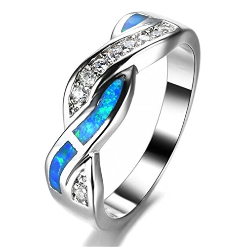 - Jiamusi Fashion Ocean Blue Fire Opal Cross White CZ Ring Mens Womens 10kt White Gold Filled Jewelry Wedding Band Size 5-10 Blue 5
