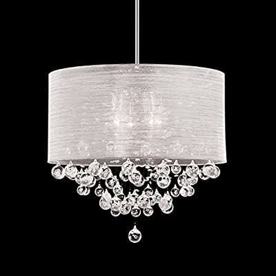 "Ceiling Light 21"" Pendant Round White Fabric Cloth Shade 4 Lamp Crystal Teardrops Balls"