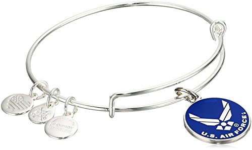 Alex and Ani Armed Forces US Air Force Expandable Silver Wire Bangle Charm Bracelet