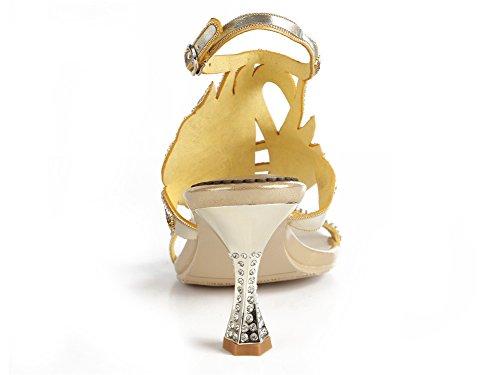 Señoras Oro Nupcial Medio mano Strappy Sandalias Paseo ZPL Mujer a Tacón Fiesta Hecho Boda Noche Diamante gxzZ75qzw