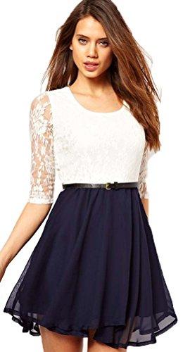pizzo bianco 34 elegante elegante blu abito bianco 38 elegante 36 Aimerfeel svasato donna sera ed da partito qEaYYwO