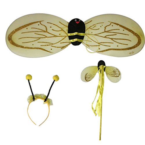 MagiDeal 3Pc Bumble Bee Honey Girls Kids Fairy Halloween Fancy Dress Up Party Costume - Childs Honey Bee Wings