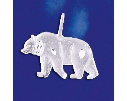 Sterling Silver Grizzly Bear Pendant Diamond Cut Italian Charm Solid 925 Italy Jewelry Making Supply Pendant Bracelet DIY Crafting by Wholesale Charms