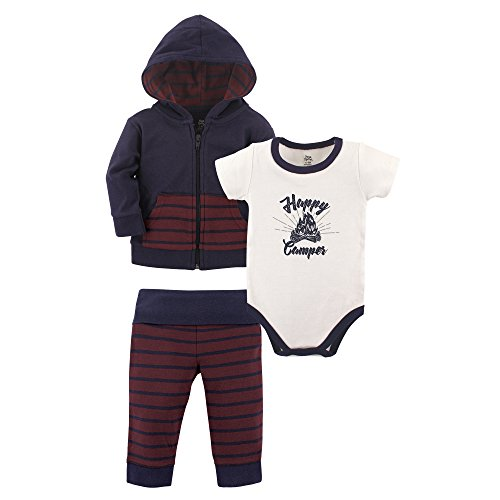 Yoga Sprout Baby 3 Piece Jacket, Top and Pant Set, Happy Camper, 12-18 Months (18M)