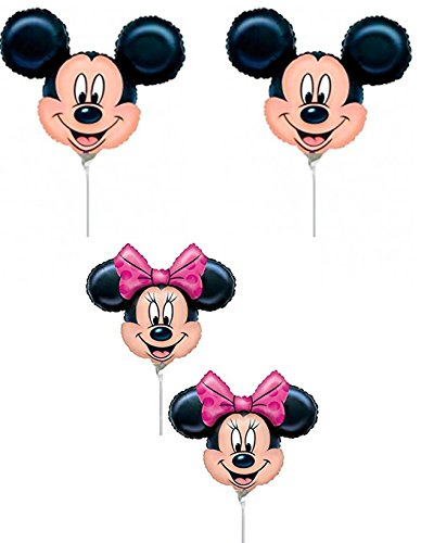 By Broward Balloons Disney Mickey & Minnie Mouse Head Mini Shape 14 Inch Balloons (Qty 4) (Mini Mickey Balloon)