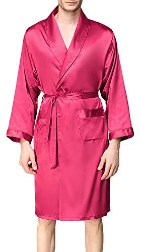 - YIMANIE Mens Silk Satin Robe Lightweight Spa Bathrobe with Shorts Nightgown Long Sleeve House Kimono Luxurious Bathrobe Set Wine Red