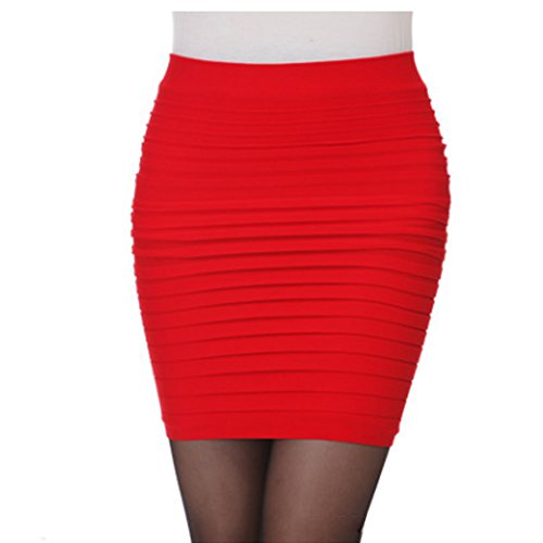 Plisse Jupe Hanche Package Taille Femme Courte Rouge Unie Moulante BIUBIONG 7Pqwxp