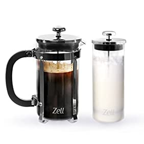 Zell French Press Coffee Maker and Glass Milk Frother Set, 34 oz (1 liter) capacity, Clear Borosilicate Glass