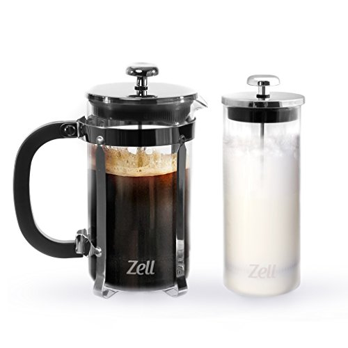 Zell French Press Coffee Maker with Stainless Steel Frame and Glass Milk Frother Set | Clear Strong Borosilicate Glass Tea & Coffee Brewer with Bonus Milk Frother | 34 Oz (1 Liter)