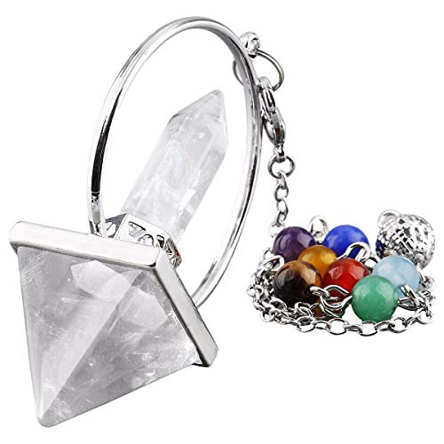 - TUMBEELLUWA Healing Crystal Quartz 7 Chakra Pendulum Dowsing Gemstone Divination Reiki Stone,Rock Quartz