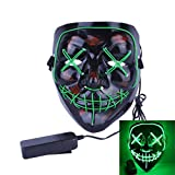 Uecoy Light up LED Smiling Stitched Purge Mask for Halloween, Rave, Festivals, and Cosplay (Green)
